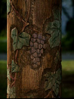 Hand Carved Oak Stair Posts - Grape & Vine Pattern by Artisans of the Valley