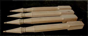 Custom Gothic Stair Posts - Side View Line-up of Four