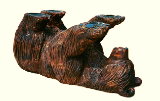 Artisans of the Valley feature Chainsaw Carving by Bob Eigenrauch - Bear Flat on his back - Table Support