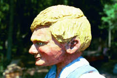Artisans of the Valley feature Chainsaw Carving by Bob Eigenrauch - Fishing Boy Head Closeup Profile