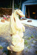 Artisans of the Valley feature Chainsaw Carving by Bob Eigenrauch - Unfinished Dragon Profile Left