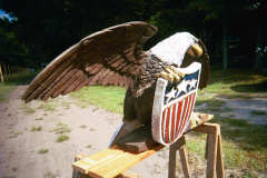 Artisans of the Valley feature Chainsaw Carving by Bob Eigenrauch - Eagle with Shield Left