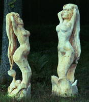 Artisans of the Valley feature Chainsaw Carving by Bob Eigenrauch - Profiles of Unfinished Mermaids