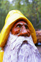Artisans of the Valley feature Chainsaw Carving by Bob Eigenrauch - Bearded Man Fisherman Closeup