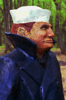 Artisans of the Valley feature Chainsaw Carving by Bob Eigenrauch - Mariner Profile Closeup Right