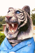 Artisans of the Valley feature Chainsaw Carving by Bob Eigenrauch - Tiger in Bathrobe Mailbox Face Closeup