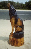 Artisans of the Valley feature Chainsaw Carving by Bob Eigenrauch - Howeling wolf Unfinished