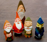 Hand carved Gnomes and Santa Figures