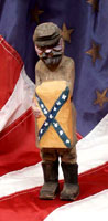 Hand carved civil war soldier with confederate flag