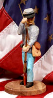 Hand Carving - Sculpture Civil War Solider Loading Rifle
