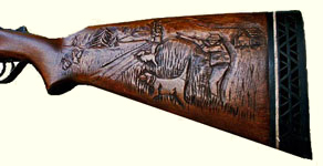 Hunter Scene Gunstock carving (Click for larger picture)