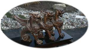 CNC Replicated Hand Carved Detail Griffins