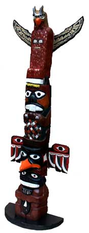 Custom solid solid poplar hand carved totem pole by Artisans of the Valley