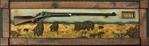 Hand Carved Wildlife Buffalo Scene Panel In Progress With Frame and Rifle Completed
