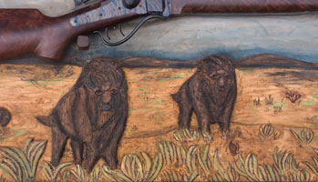 Hand Carved Wildlife Buffalo Scene Panel In Progress With Frame and Rifle Completed Closeup