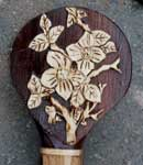 Custom Asian Piercing on Rosewood Walking Staff by Artisans of the Valley - Flowers