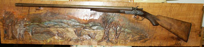 Double Barrel Shotgun on Hand Carved Whiletail Deer Scene