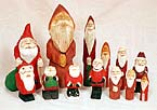 Hand carved santa figures