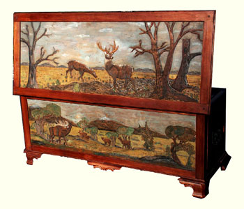 Custom Solid Cherry Safari Chest - Fully Carved with Wildlife Scenes - Complete Lid Open