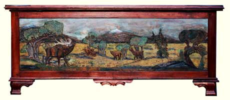 Custom Solid Cherry Safari Chest - Fully Carved with Wildlife Scenes - Wide Angle Elk Carving - Complete